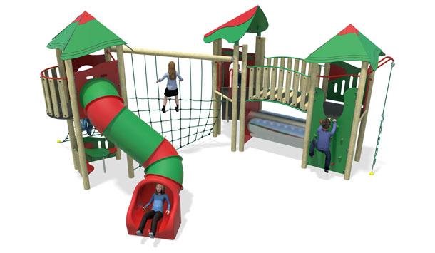 high energy plastic slide-red & green-inc roofs.jpg